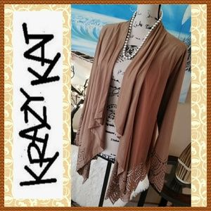 Like New Krazy Kat Faux Suede Cardigan